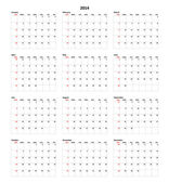 Calendar for 2014 — Stock Photo