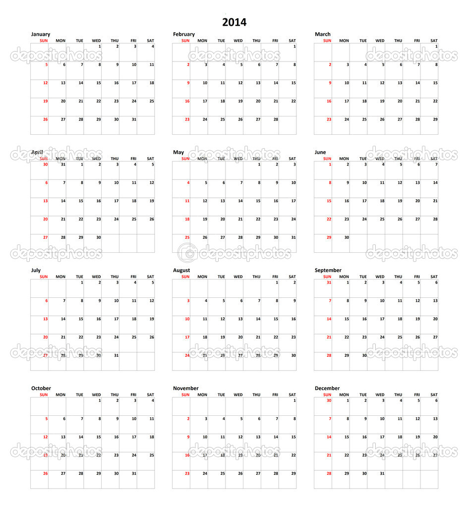 Simple Calendar for year 2014 — Photo by mark52