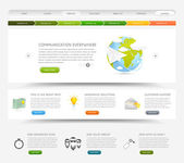 Web design website template with colorful icons — Stock Vector
