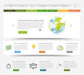 Plantilla de sitio web diseño web con iconos de colores — Vector de stock