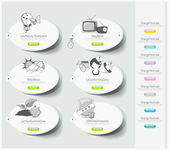 Design icons set with stickers — Stock Vector