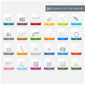 Files type icons set — Vettoriale Stock