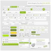 Webbplats design navigeringselement mall med ikoner set — Stockvektor