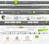 Webové stránky navigační šablony prvků sadou ikon — Stock vektor