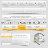 Elementy szablon witryny sieci web projektu nawigacji z zestaw ikon — Wektor stockowy