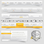 Web site design navigation template elements with icons set — Vector de stock