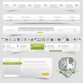 Web design template navigation set with icon set — Stock Vector