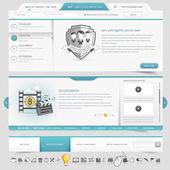 Elementos de navegación de plantilla de sitio web con conjunto de iconos — Vector de stock