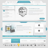 Web site template navigation elements with icons set — Stockvektor