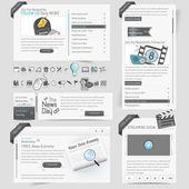 Elementos de plantilla de diseño de sitio web con conjunto de iconos — Vector de stock