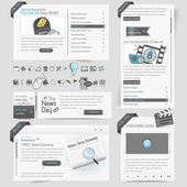 Web site design template elements with icons set — Stock Vector