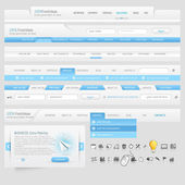 Web site design navigation template elements with icons set — Stock Vector