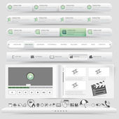 Web site design template navigation set with icon set — Stock Vector