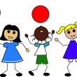Clip Art Illustration of Cartoon Kids with Balloons — Stock Photo