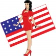 Royalty-Free Stock Photo: Clip Art Illustration of a 40\'s Pin Up Girl with American Flag B