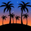 Clip Art Illustration of a Tropical Island Scene at Sunset with — Stock Photo