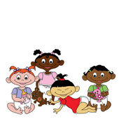 Clip Art Illustration of Cartoon Babies of Different Races — Stock Photo