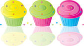 Clip Art Illustration of a Decorated Cartoon Bakery Cupcake — Stock Photo