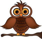 Clip Art Illustration of a Cartoon Owl on a Branch — Stock Photo