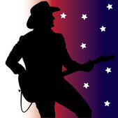 Clip Art Illustration of a Country Guitar Player Silhouette — Stock Photo