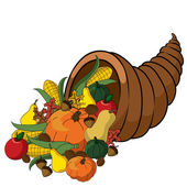 Clip Art Illustration of a Thanksgiving Cornucopia Full of Fall Foods — Stock Photo