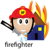 Clip Art Illustration of a Firefighter Job Icon — Stock Photo