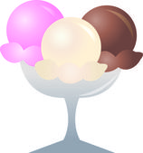 Clip Art Illustration of a Dish of Ice Cream — Stock Photo
