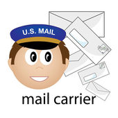 Clip Art Illustration of a Caucasian Mail Carrier Job Icon — Stock Photo