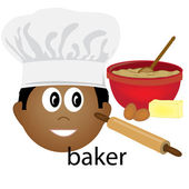 Clip Art Illustration of an Ethnic Baker Job Icon — Stock Photo