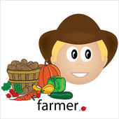 Clip Art Illustration of a Caucasian Farmer Job Icon — Stock Photo