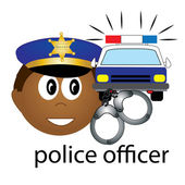 Clip Art Illustration of an Hispanic Police Officer Occupation I — Stock Photo