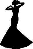 Clip Art Illustration of a Spring Bride in a Strapless Gown — Stock Photo