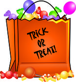 Clip Art Illustration of a Halloween Trick or Treat Bag Filled wi — Stock Photo