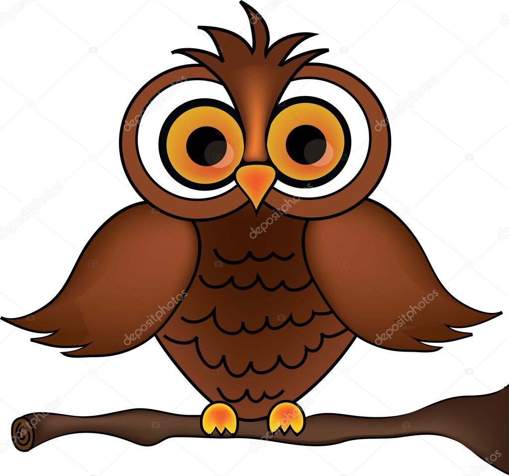 Clip art illustration of a cartoon owl on a branch stock for A cartoon owl