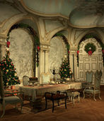 A festively decorated hall on christmas eve — Stock Photo