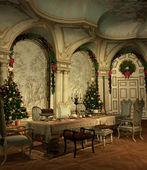 Een feestelijk versierde zaal op kerstavond — Stockfoto