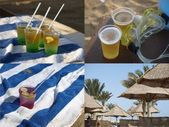Drinks on a beach — Stock Photo