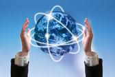 Tecnologia de nuvem de palavra, conceito de plano de fundo — Foto Stock