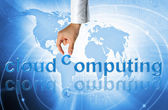 Cloud computing concept - world wide data sharing and communication — Stock Photo