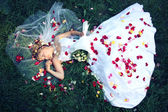 Bride lying on the grass and rose petals — Stock fotografie