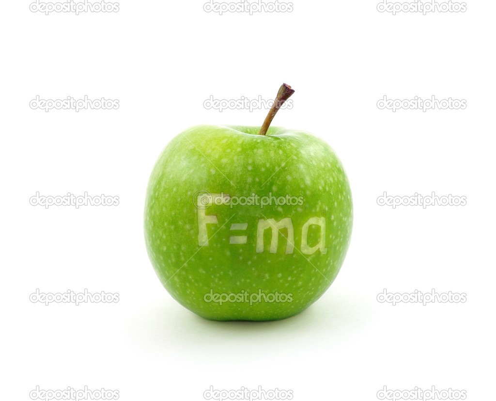 Formula of Newton second law on apple  Stock Photo #6957932