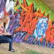 Stock Photo: Girl against a wall with graffiti and laptop