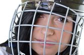 Woman hockey player — Stock Photo