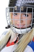 Woman hockey player — Stock Photo