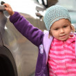 Baby openning the car — Stock Photo