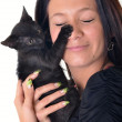 Happy woman with cat — Stock Photo #7180901