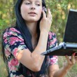 Beautiful woman with a laptop outdoor portrait — Stock Photo #7193195