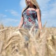 Happy woman in golden wheat field — ストック写真 #7193486