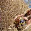Royalty-Free Stock Photo: Happy woman  in golden wheat field