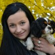 Girl with dog in spring — Stock Photo #7221836